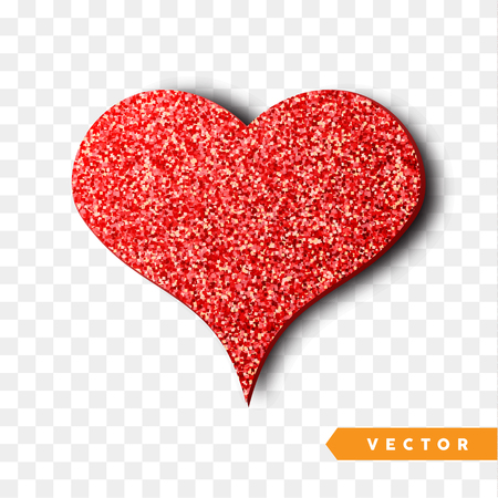 Valentines day heart isolated, transparent vector effect background. Festive decorations bright glitter placer. Holiday love decor illustration. Beautiful design element Foto de archivo - 94765220