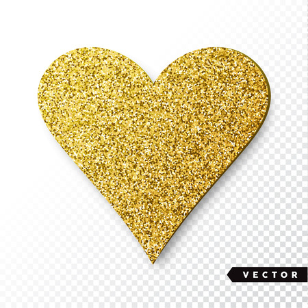 Vector gold sparkles heart. Valentines Day Vector Sparkles and Glitters. Holiday Design.  イラスト・ベクター素材