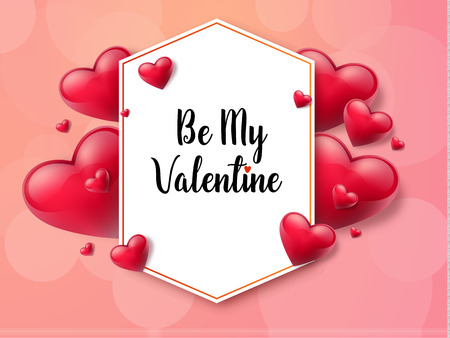 2018 Valentine's day with textbox and beautifull hearts. Vector illustration