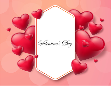 2018 Valentines day with text box and beautiful hearts. Vector illustration. Illustration