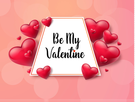 2018 Valentines day with textbox and beautifull hearts. Vector illustration Illustration