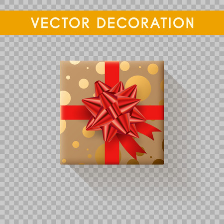 Realistic gift box top view. Gift boxes without background. Vector illistration