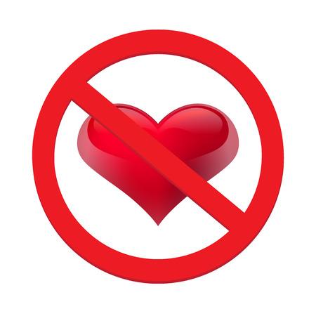 Ban love heart. Symbol of forbidden and stop love. Vector illustration - Vector