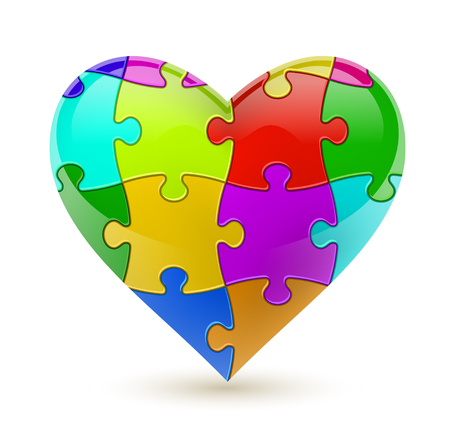 Colorful vector puzzle heart. Illustration