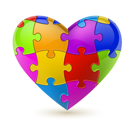 Colorful vector puzzle heart.