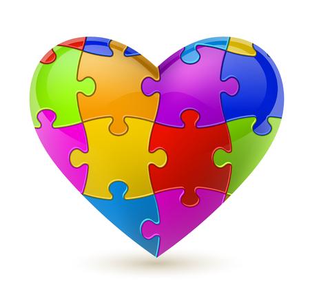 Corazón colorido del rompecabezas del vector.