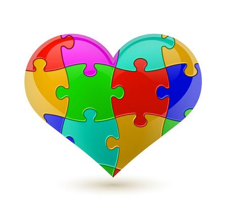 Colorful vector puzzle heart. Çizim