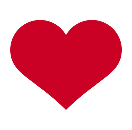 Herz, Symbol der Liebe und Valentinstag. Flaches rotes Symbol isoliert auf weißem Hintergrund. Vektor-Illustration.