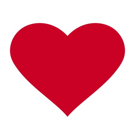 Corazón, símbolo del amor y el día de San Valentín. Icono rojo plano aislado sobre fondo blanco. Ilustración de vector. - Vector