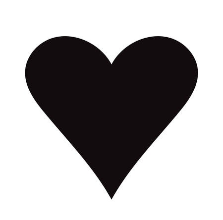 Flat Black Heart Icon Isolated on White Background. Vector illustration. Archivio Fotografico - 121676832