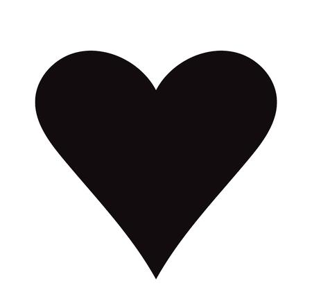 Flat Black Heart Icon Isolated on White Background. Vector illustration.