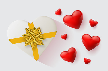Festive wallpaper decorated with hearts and gifts. Vector illustration - Vector