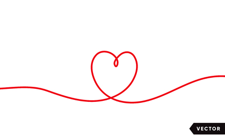 Continuous one line drawing of red heart isolated on white background. Vector illustration Archivio Fotografico - 125328900