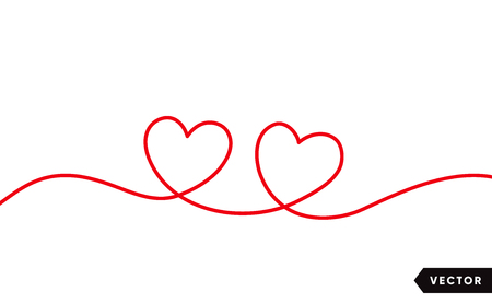 Continuous one line drawing of red heart isolated on white background. Vector illustration Stock Illustratie