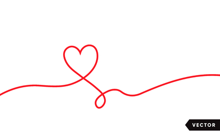 Continuous one line drawing of red heart isolated on white background. Vector illustration Vettoriali