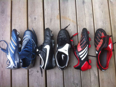 football boots: Three pairs of football boots from Adidas and Nike.