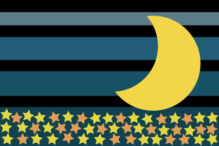 Crescent moon and many stars on blue and black stripes.