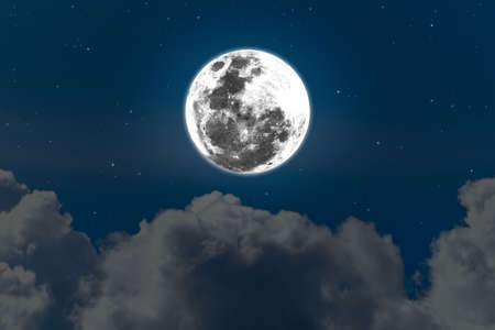 Bright full moon on the sky. Banque d'images