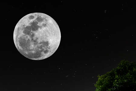 Full moon with real stars in the dark night.