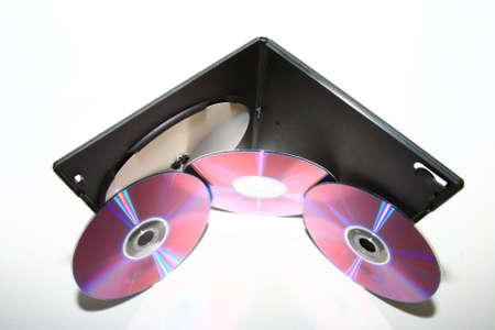 CD DVD record write rewrite +RW box slim upper view white background weak shadow