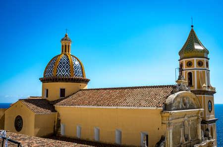 View at San Gennaro church with rounded roof in Vettica Maggiore Praiano, Italy Archivio Fotografico