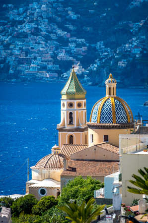 View at San Gennaro church with rounded roof in Vettica Maggiore Praiano, Italy 写真素材