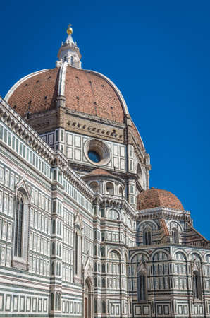 Detail of the facade of the Basilica di Santa Maria del Fiore in Firenze Italy