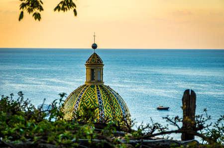 View at dome of Church of Santa Maria Assunta in Positano by Amalfi Coast, Positano Italy.