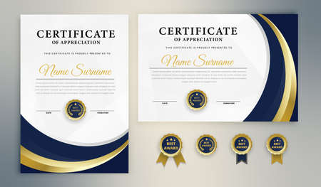 Blue Elegant Certificate diploma awards appreciation achievement university company