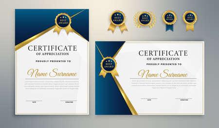 Blue Gold Elegant Certificate