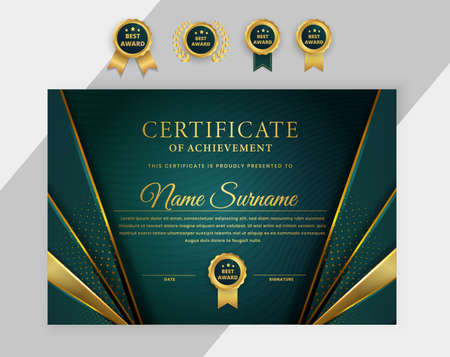 Elegant Modern Certificate Award Diploma with bagdes