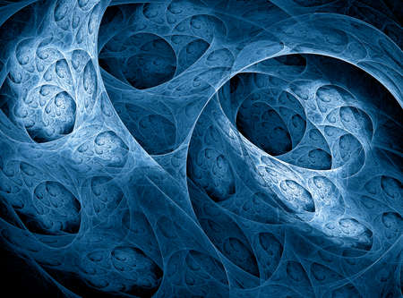 Abstract fractal 3d background with circles, curls and tunnels. Fantastic blue fractal on black background computer-generated image Фото со стока
