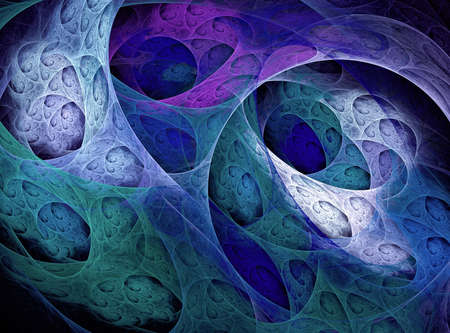 Abstract fractal 3d background with circles, curls and tunnels. Fantastic colorful fractal on black background computer-generated image