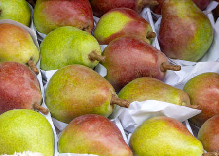 Pears neatly packaged for transport. Pear background
