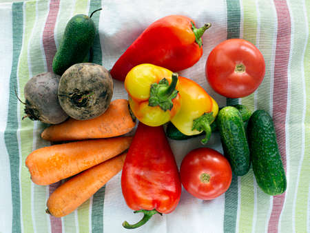 Harvest fresh vegetables at your table. Tomatoes, peppers, cucumbers, beets and carrots are laid out on a towel. Colorful background of vegetables