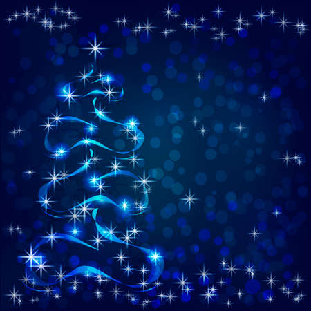 A luminous Christmas tree is located on a dark blue background with highlights. Snowflakes of different sizes lie on a Christmas tree. Snowflakes border the top and bottom