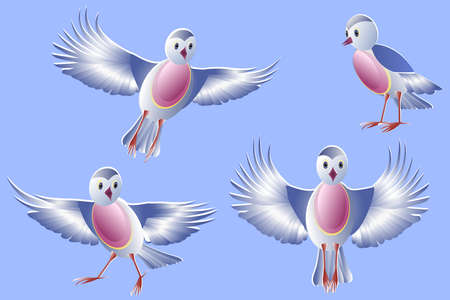 Set of stylized birds isolated on a blue background. Blue birds with pink breasts and red paws. Birds flying, standing, running and singing. Vector. 向量圖像