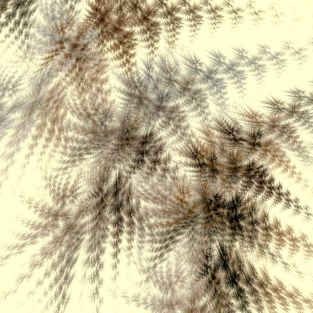 Brown and gray abstract fractal feathers diverge in different directions on a light yellow background. 3d rendering.