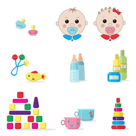 Two babies - girl and boy, milk bottles, dummy pacifiers, set for babies skin care, baby pots and toys isolated on white background. Vector. EPS10. Ilustracja