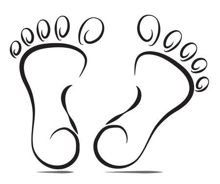 Stylized soles of human legs isolated on a white background. Illustration. Vector. EPS10.