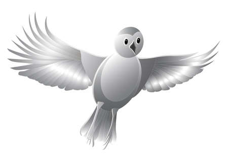 Stylized monochrome bird isolated on a white background. The bird takes off. Cut out of paper. 3D illustration
