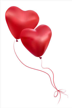 Two hearts isolated on a white background. A pair of balloons in the shape of hearts fly up. Their ropes are tied with a bow. 3D. Vector. EPS10