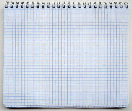 Blank sheet of open notebook. The notebook has a spiral binding. You can write text on the sheet.