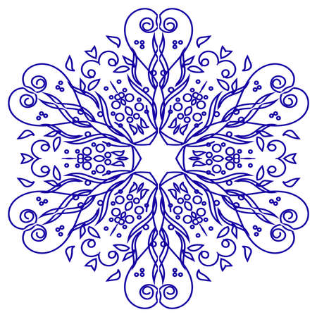 Openwork vector decorative snowflake. In the center of the ornament is a hexagonal star. Floral elements, circles and wavy lines fill the rest of the background. Eps 10.