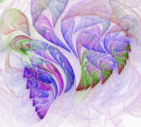 Airy blurry patterns from the leaves of fantastic plants. Abstract fractal background. 3d rendering. 3d illustration.