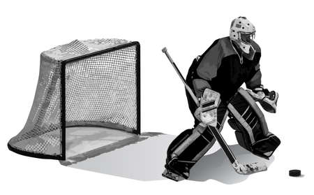 The hockey goalkeeper protects the goal. Goalkeeper, gate and puck isolated on white background. Illustration. Vector, eps10. 向量圖像