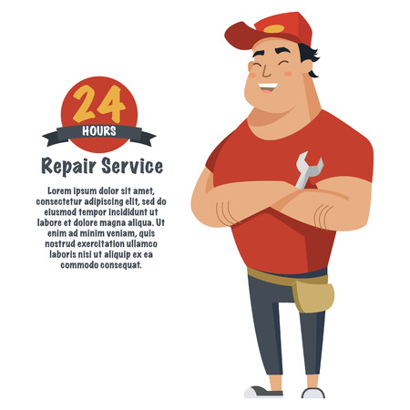 Repair man with wrench in hand. Plumber, mechanic or handyman in work clothes.