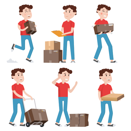Courier characters, delivery man holding boxes in different poses.Shipping, logistics service in business and industry. Illustration