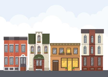 Straßenlandschaft. Stadtstraße mit städtischen Gebäuden, Wohnung, Geschäfte, Häuser in flachen Stil. Standard-Bild - 80463411