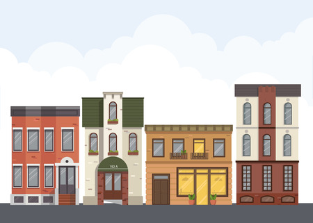 districts: Street landscape. City street with urban buildings, apartment, shops, houses in flat style. Illustration